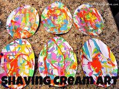 Easter Egg Shaving Cream Art... Fun DIY art project for the kids! thema kunst, ik heb dit geprobeerd, leuk!