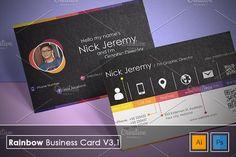 Rainbow Business Card v3.1 Templates **Rainbow Business Card v3.1**---This business card template is vector based built in Illustrator by Kedai Creative