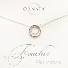 TEACHER PERSONALIZED STERLING SILVER NECKLACE TEACHER JEWELRY GIFTS CIRCLE INFINITY NECKLACES
