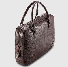 Genuine Alligator Leather Briefcase Laptop Bag for Men