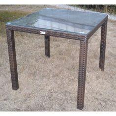 Mesa AZAHAR, aluminio, ratán chocolate, 80x80 cms