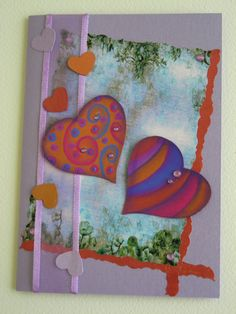 Whimsical Card with Handpainted Hearts for Valentines Day, Birthday, or Anniversary $9.00 AUD