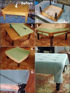 making an ottoman out of a coffee table! (interior design, home decor, DIY)
