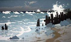Oscar Droege Buhnen am Meer woodcut http://www.museen-sh.de