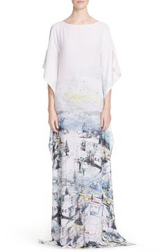 St. John Collection Almalfi Vista Print Silk Georgette Caftan Gown available at #Nordstrom