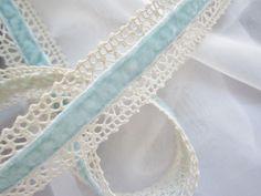 Beautiful Pale Blue Velvet Ribbon Centered in Cream Crochet Trim - 1yd. $3.00, via Etsy.