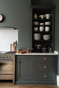 Kitchen styling | Charcoal cabinets | Marble backsplash | Open shelving