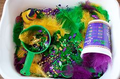 Mardi Gras sensory tubs
