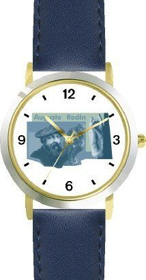 Auguste Rodin & The Thinker - WATCHBUDDY® DELUXE TWO-TONE THEME WATCH - Arabic Numbers - Blue Leather Strap-Size-Children's Size-Small ( Boy's Size & Girl's Size ) WatchBuddy. $49.95