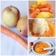 Papilla de frutas. Mango, manzana y zanahoria.