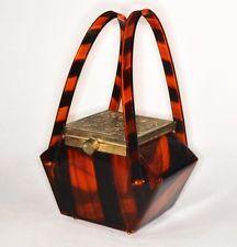 lucite faux tortoise purse handbag vintage 1950 retro original