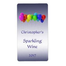 Rainbow Balloons Sparkling Wine Label