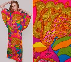 Vintage 60s PSYCHEDELIC Caftan Neon Batwing PAISLEY Floral Peacock Maxi Dress on Etsy, $72.00