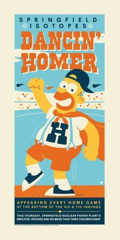 Dancin Homer Poster by Dave Perillo New Simpsons Series of Art Simpsons Drawings, Simpsons Art, Simpsons Cartoon, Digital Foto, The New Batman, Dark Ink, Nuclear Power, Art Series, Futurama
