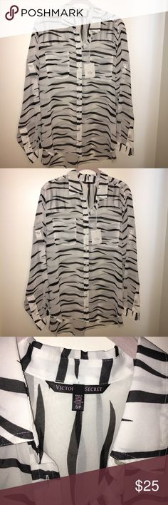 BLOUSE- BRAND NEW NEVER WORN BY VICTORIA SECRETS BLOUSE- SHEER BLOUSE WITH BLACK ZEBRA STRIPS ON A WHITE SHIRT.  Comes with extra buttons.  TOTAL LENGTH- 26 INCHES (approximately) - WIDTH- 21 INCHES (approximately) SLEEVE - 29 INCHES (approximately) YOU CAN ROLL UP THE SLEEVE AND BUTTON IT Victoria's Secret Tops Blouses