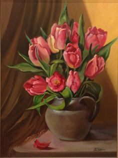 Tulip Painting, Watercolour Painting, Tea Cup Drawing, Elephant Pictures, Prophetic Art, Still Life Oil Painting, Good Morning Flowers, Plant Art, Pink Tulips