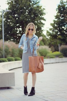 Striped dress + booties | Lilly Style