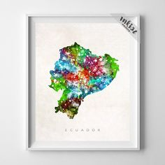 Ecuador Watercolor Map Print. Prices from $9.95. Available at www.InkistPrints.com #Ecuador #WallArt