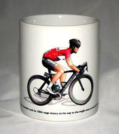 Cycling Mug. Mark Cavendish, Giro d'Italia 2013 by George Morgan Illustration Mark Cavendish, Bradley Wiggins, Famous Guitars, Mug Decorating, Handmade Items, Handmade Gifts, Ceramic Mugs, Tea Mugs, E Bay