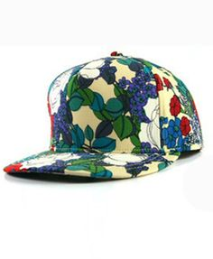 Wide Flat Brim with Colored Flower Print