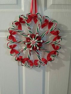 Candy Cane Wreath I Made Christmas 2013 Also Posted On Shasta's Crafty Cabin (On Facebook)
