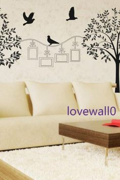 two tree photo frame with leaf leaves birds bird room house home wall sticker Art Murals stickers decal decor removeable 590