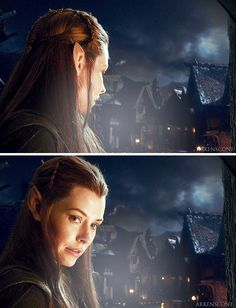Even though Tauriel is not a real character -. But the whole thing with Kili makes the Legolas/Gimli friendship seem like it wasn't the first elf and dwarf relationship. Legolas And Tauriel, Thranduil, Lotr, Elven Woman, Mirkwood Elves, The Hobbit Movies, Desolation Of Smaug, Evangeline Lilly, Chronicles Of Narnia