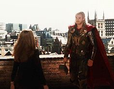 I LOOOOVE this kiss. Thor just drops out of the sky, cape aflutter, Jane's hair flowing, and they just collide, but so smoothly and flawlessly! Fave MCU kiss!