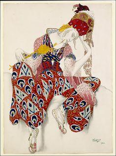 "Leon Bakst (Russian 1866-1924). Costume study for Vaslav Nijinsky in the role of Iksender in the ballet ""La Péri"", 1922. The Metropolitan Museum of Art, New York. Gift of Sir Joseph Duveen, 1922 (22.226.1) #halloween #costume"