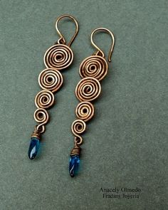 Cascading Spiral Wire Work Earrings #Tutorial - needs practice!                                                                                                                                                      More
