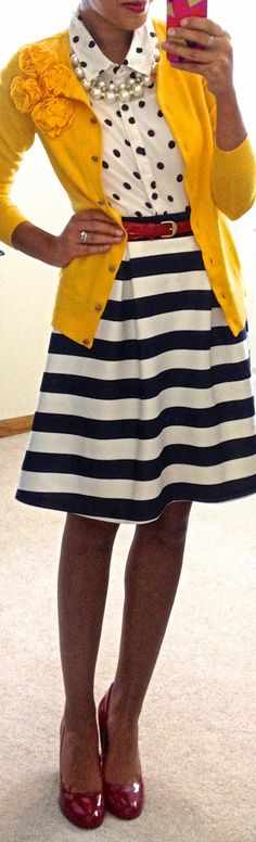 Like the colors and combination of polka dots and stripes