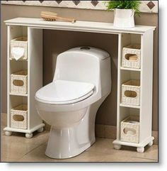 Over the toilet spacesaver - two CD towers and a shelf....This is a wonderful way to get use out of rarely used space!