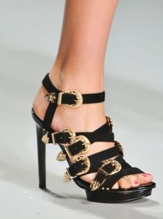 Ppq Black Straps with Gold Buckles Sandal Spring 2014 #Shoes #HighHeels