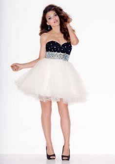 Short Black White Sparkly A Line Cocktail Dress
