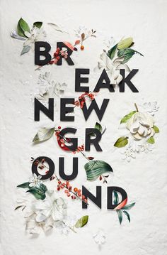 Typography / Happy New Year. Break New Ground, MELISSA DECKERT.
