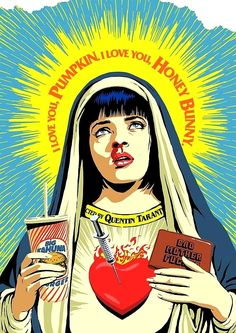 tarantino fiction wallace thurman mother virgin pulp mary bad mia uma Bad Mother pulp fiction tarantino mia wallace uma thurman virgin maryYou can find Pulp fiction and more on our website Uma Thurman Pulp Fiction, Arte Pulp Fiction, Pulp Fiction Tattoo, Mia Wallace, Art Pop, Arte Hip Hop, Retro Illustration, Movie Poster Art, Quentin Tarantino