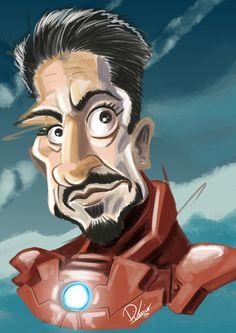 Robert Downey Jr as Tony Stark #ironman, again - caricature by Ribosio #avengers