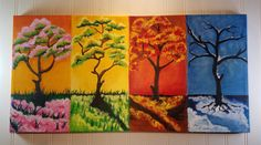 Acrylic Canvas Painting Four Seasons by PersonalPaintsbyDona