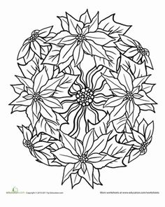 Christmas Second Grade Mandalas Worksheets: Color a Poinsettias Mandala