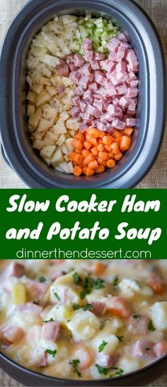 Slow Cooker Ham and Potato Soup that's creamy, full of vegetables and chunks of ham, finished off with milk and sour cream for a easy and delicious hearty soup. Crockpot Ham And Potatoes, Slow Cooker Potato Soup, Ham And Potato Recipes, Potatoe Soup Crockpot, Recipes For Ham, Slow Cooker Ham Recipes, Cream Of Potato Soup, Recipes With Cooked Ham, Easy Crockpot Potato Soup