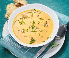 Härligt värmande mustig soppa med kokossmak och fin ingefärstouch! Mixa ingredienserna till en slät soppa och avnjut gärna tillsammans med ett gott glutenfritt bröd till. Bjud alla!