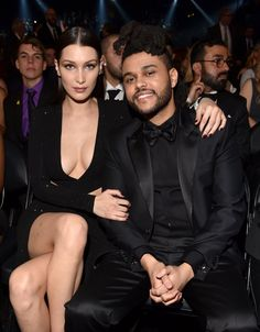 Pin for Later: The Weeknd and Bella Hadid Made Their Red Carpet Debut at the Grammys Bella Hadid Hair, Bella Gigi Hadid, Black Guy White Girl, White Girls, Girl Celebrities, Celebs, Celebrity Couples, Celebrity Style, Abel And Bella