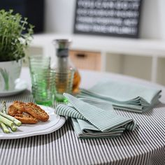 Distinguish your dining room with these jazzy napkins. – Green Striped Linen Cotton Napkin Jazz, kitchen accessories, bathroom accessories – a unique product by LinenMe via en.dawanda.com