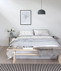 I love the look of a table at the end of the bed, however I feel it would be used as a place to store random items. Undecided!