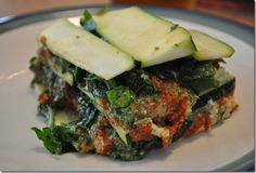 Raw Vegan Zucchini, Spinach, Tomato and Pesto Lasagna