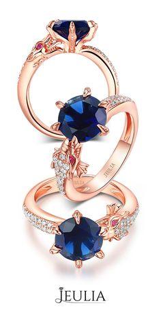 3.0 Ct Modern Dragon Designer Rose Gold Plated Sterling Silver Women's Ring #Jeulia