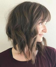 """It can not be repeated enough, bob is one of the most versatile looks ever. We wear with style the French """"bob"""", a classic that gives your appearance a little je-ne-sais-quoi. Here is """"bob"""" Despite its unpretentious… Continue Reading → Angle Bob, Lob With Bangs, Bob Haircut With Bangs, Wavy Bangs, Lob Bangs, Angled Bangs, Angled Hair, Messy Bangs, Long Bob With Bangs"""