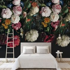 Dark Color Vintage Floral Wallpaper Wall Murals Oil Painting Source by Garden Wallpaper, Wallpaper Wall, Bedroom Wallpaper, Bedroom Sofa, Bedroom Decor, Grand Litier, Rose Flower Wallpaper, Large Floral Wallpaper, Victorian Flowers
