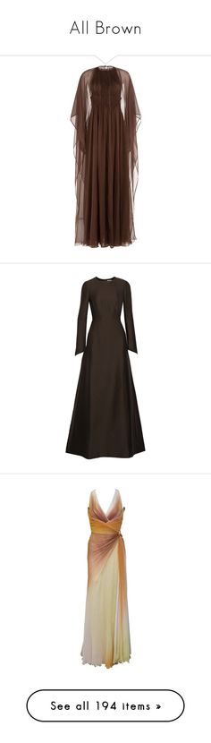 """""""All Brown"""" by anniebenny ❤ liked on Polyvore featuring dresses, gowns, brown, brown evening dress, floor length evening gown, high neck gown, valentino gowns, floor length gowns, dark brown and crepe fabric dress"""