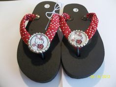 Black Hello Kitty Bottle Cap Flip Flops by ang744 on Etsy, $3.00